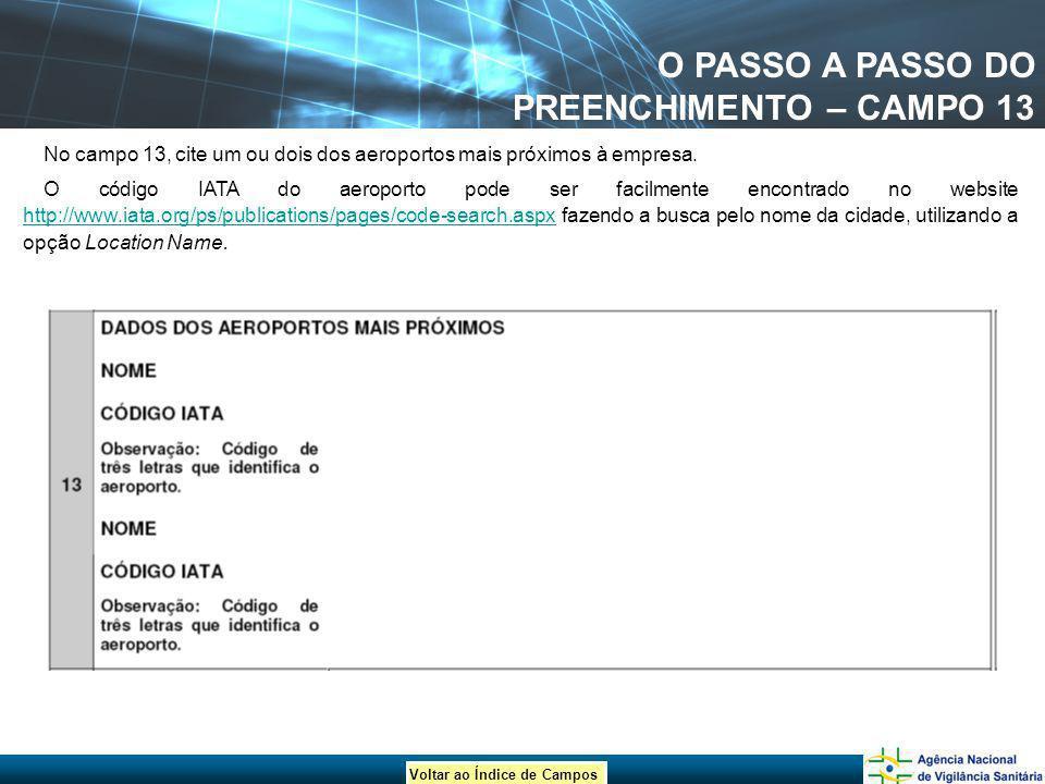 Voltar ao Índice de Campos O PASSO A PASSO DO PREENCHIMENTO – CAMPO 13 No campo 13, cite um ou dois dos aeroportos mais próximos à empresa. O código I