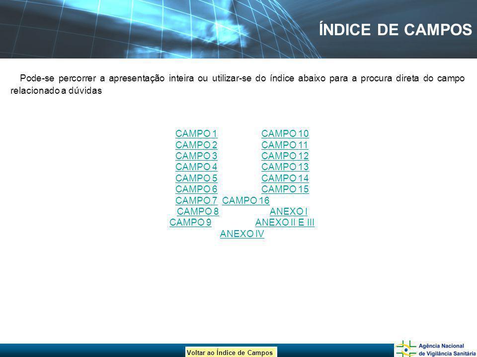 Voltar ao Índice de Campos ÍNDICE DE CAMPOS Pode-se percorrer a apresentação inteira ou utilizar-se do índice abaixo para a procura direta do campo re