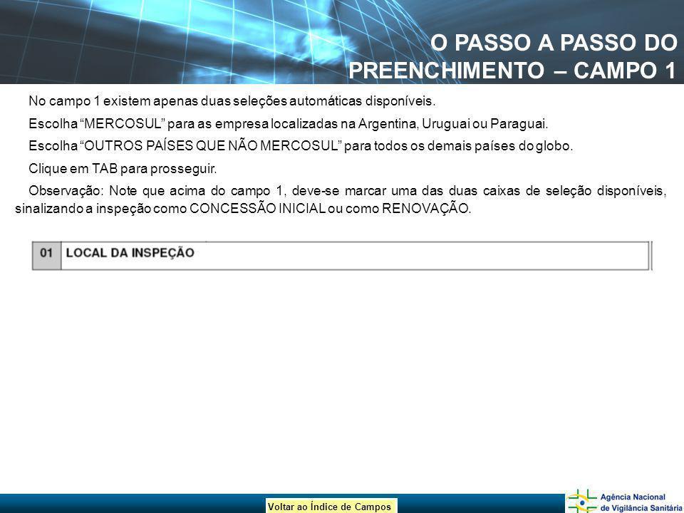 Voltar ao Índice de Campos O PASSO A PASSO DO PREENCHIMENTO – CAMPO 1 No campo 1 existem apenas duas seleções automáticas disponíveis. Escolha MERCOSU