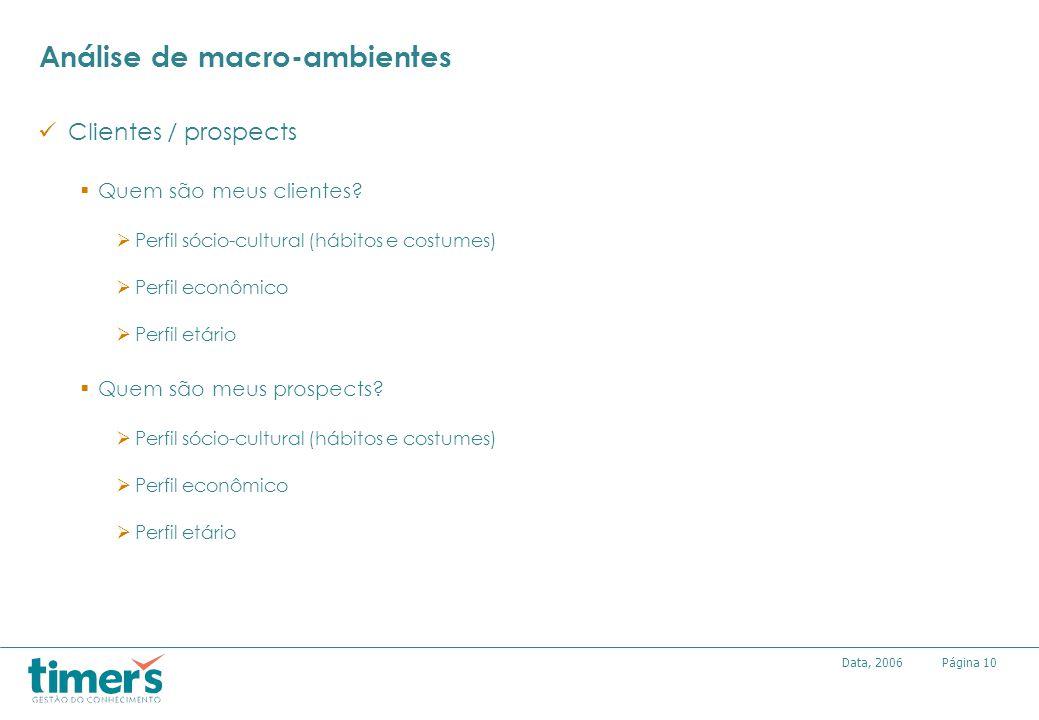 Página10Data, 2006 Análise de macro-ambientes Clientes / prospects Quem são meus clientes? Perfil sócio-cultural (hábitos e costumes) Perfil econômico