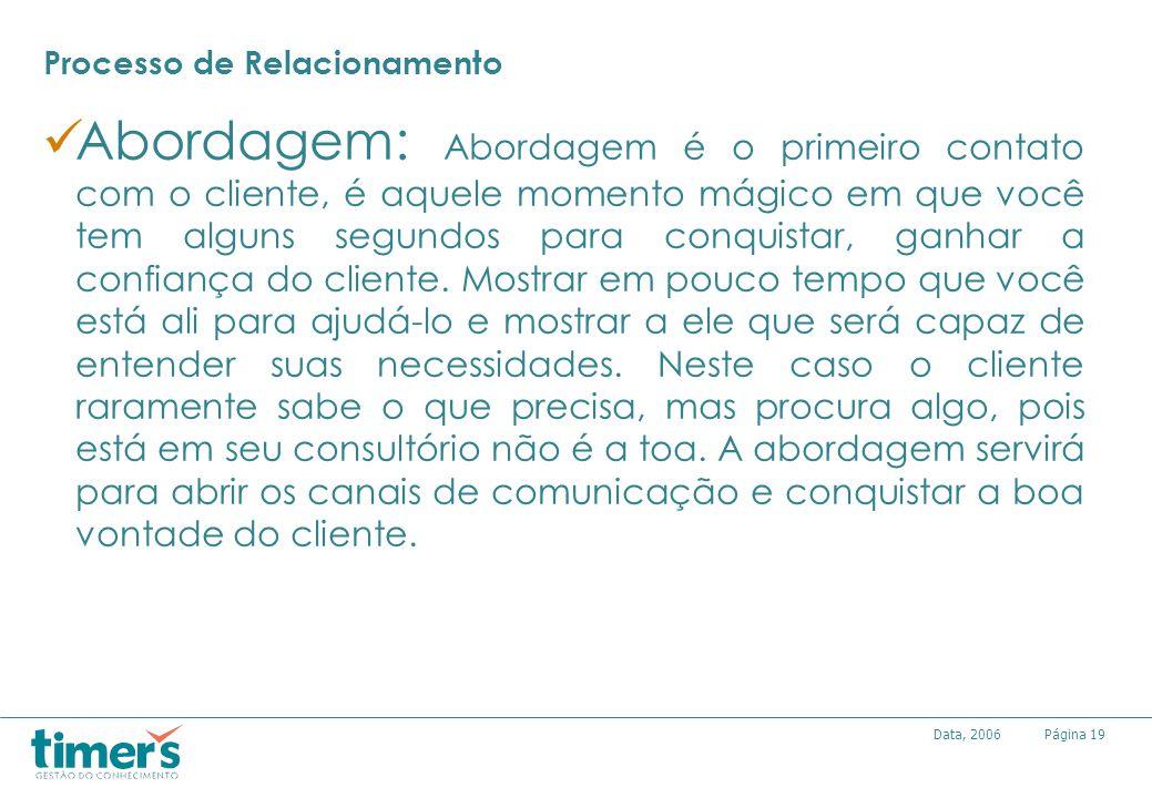 Página19Data, 2006 Processo de Relacionamento Abordagem: Abordagem é o primeiro contato com o cliente, é aquele momento mágico em que você tem alguns