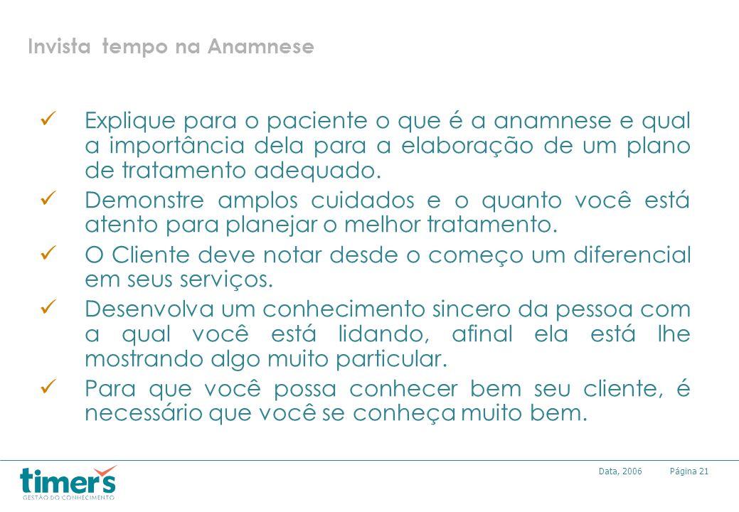 Página21Data, 2006 Invista tempo na Anamnese Explique para o paciente o que é a anamnese e qual a importância dela para a elaboração de um plano de tr