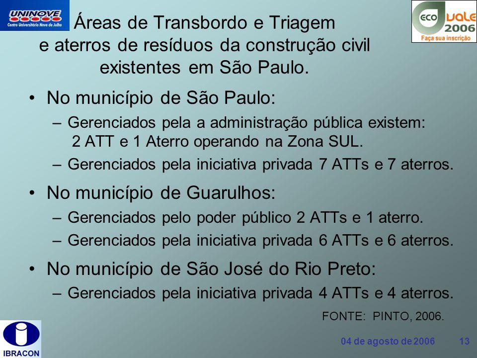 04 de agosto de 2006 13 Áreas de Transbordo e Triagem e aterros de resíduos da construção civil existentes em São Paulo. No município de São Paulo: –G