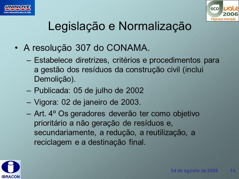 04 de agosto de 2006 14 Legislação e Normalização A resolução 307 do CONAMA. –Estabelece diretrizes, critérios e procedimentos para a gestão dos resíd