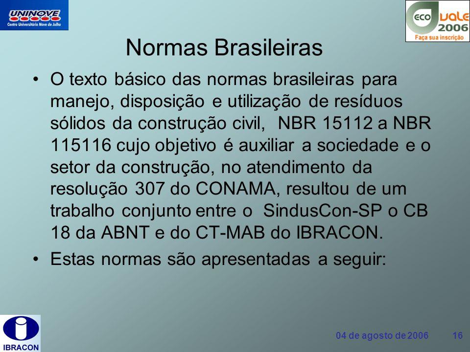 04 de agosto de 2006 16 Normas Brasileiras O texto básico das normas brasileiras para manejo, disposição e utilização de resíduos sólidos da construçã