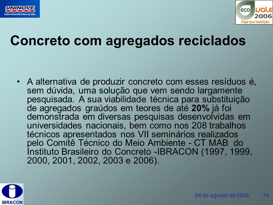 04 de agosto de 2006 19 Concreto com agregados reciclados A alternativa de produzir concreto com esses resíduos é, sem dúvida, uma solução que vem sen