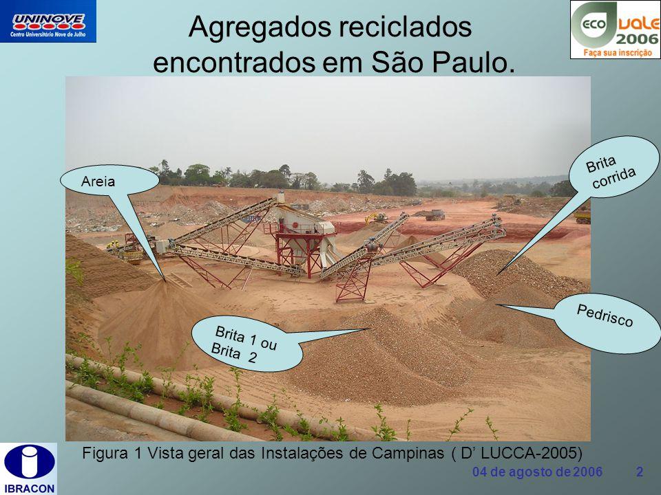 04 de agosto de 2006 2 Agregados reciclados encontrados em São Paulo. Figura 1 Vista geral das Instalações de Campinas ( D LUCCA-2005) Areia Pedrisco