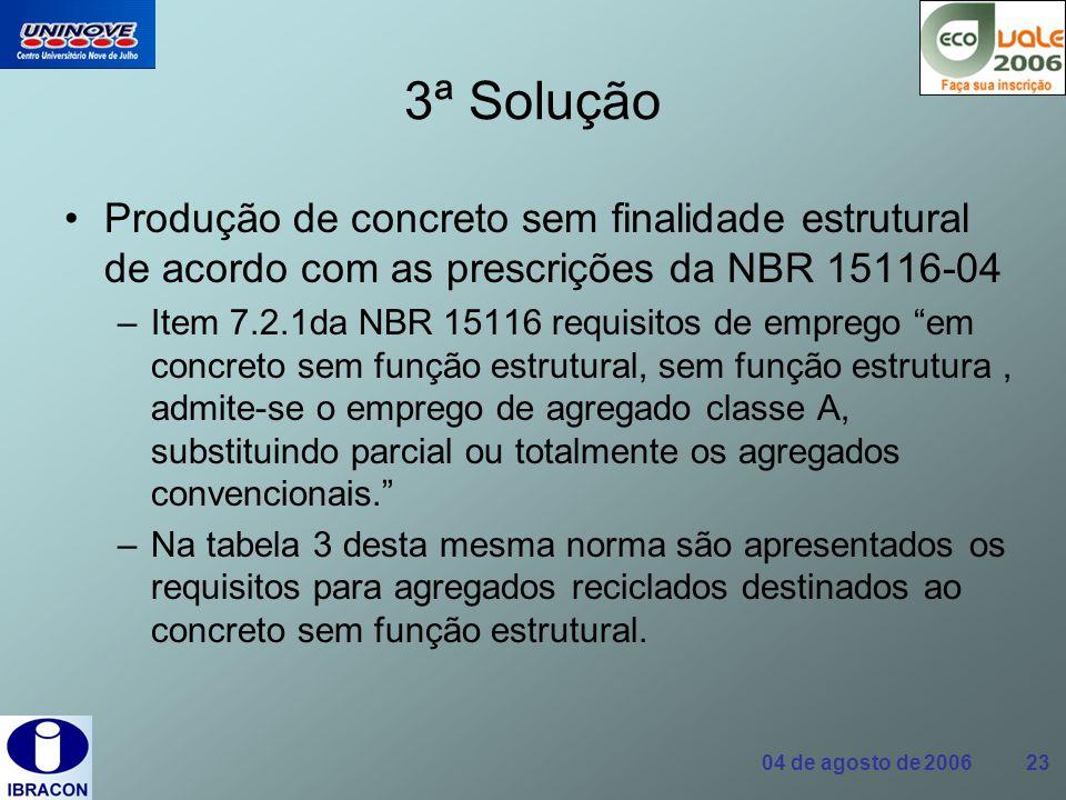 04 de agosto de 2006 23 3ª Solução Produção de concreto sem finalidade estrutural de acordo com as prescrições da NBR 15116-04 –Item 7.2.1da NBR 15116