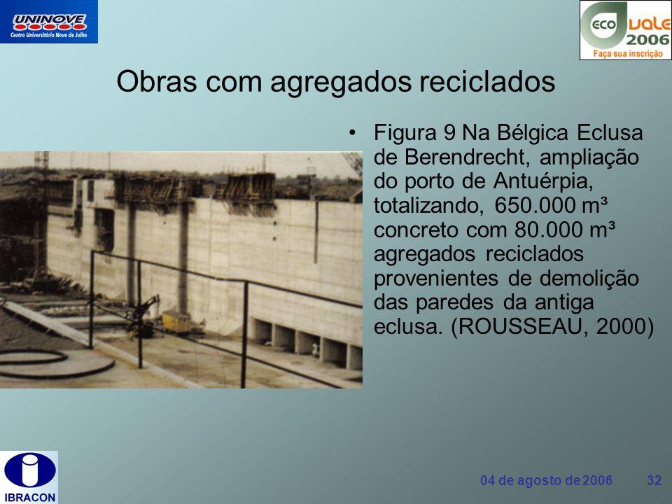 04 de agosto de 2006 32 Obras com agregados reciclados Figura 9 Na Bélgica Eclusa de Berendrecht, ampliação do porto de Antuérpia, totalizando, 650.00
