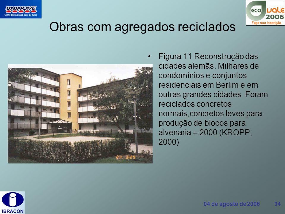 04 de agosto de 2006 34 Obras com agregados reciclados Figura 11 Reconstrução das cidades alemãs. Milhares de condomínios e conjuntos residenciais em