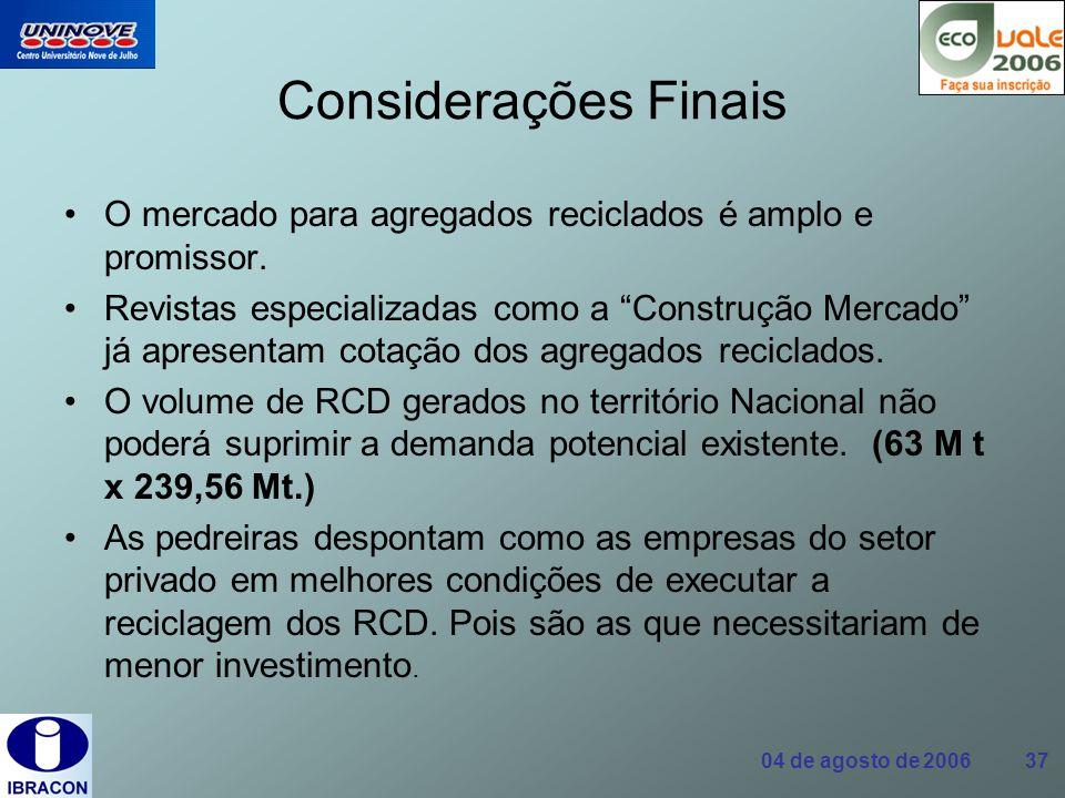 04 de agosto de 2006 37 Considerações Finais O mercado para agregados reciclados é amplo e promissor. Revistas especializadas como a Construção Mercad