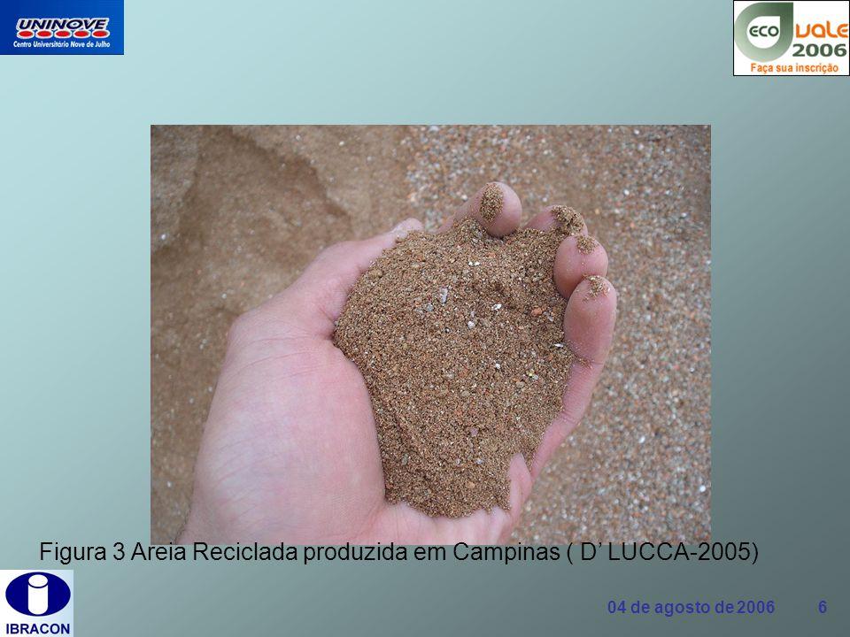 04 de agosto de 2006 17 Normas Brasileiras NBR 15112/04 Resíduos de construção civil e resíduos volumosos- Áreas de transbordo e triagem - Diretrizes para projeto, implantação e operação.