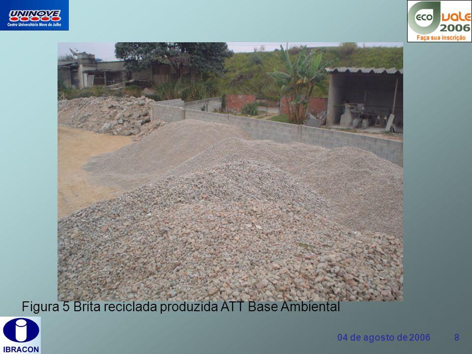 04 de agosto de 2006 19 Concreto com agregados reciclados A alternativa de produzir concreto com esses resíduos é, sem dúvida, uma solução que vem sendo largamente pesquisada.