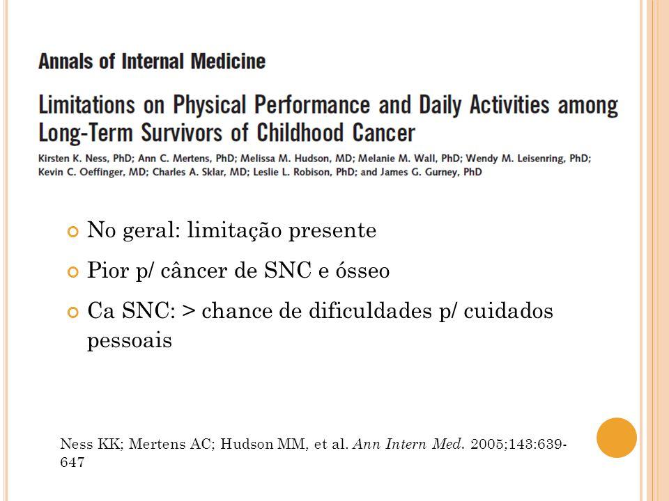No geral: limitação presente Pior p/ câncer de SNC e ósseo Ca SNC: > chance de dificuldades p/ cuidados pessoais Ness KK; Mertens AC; Hudson MM, et al