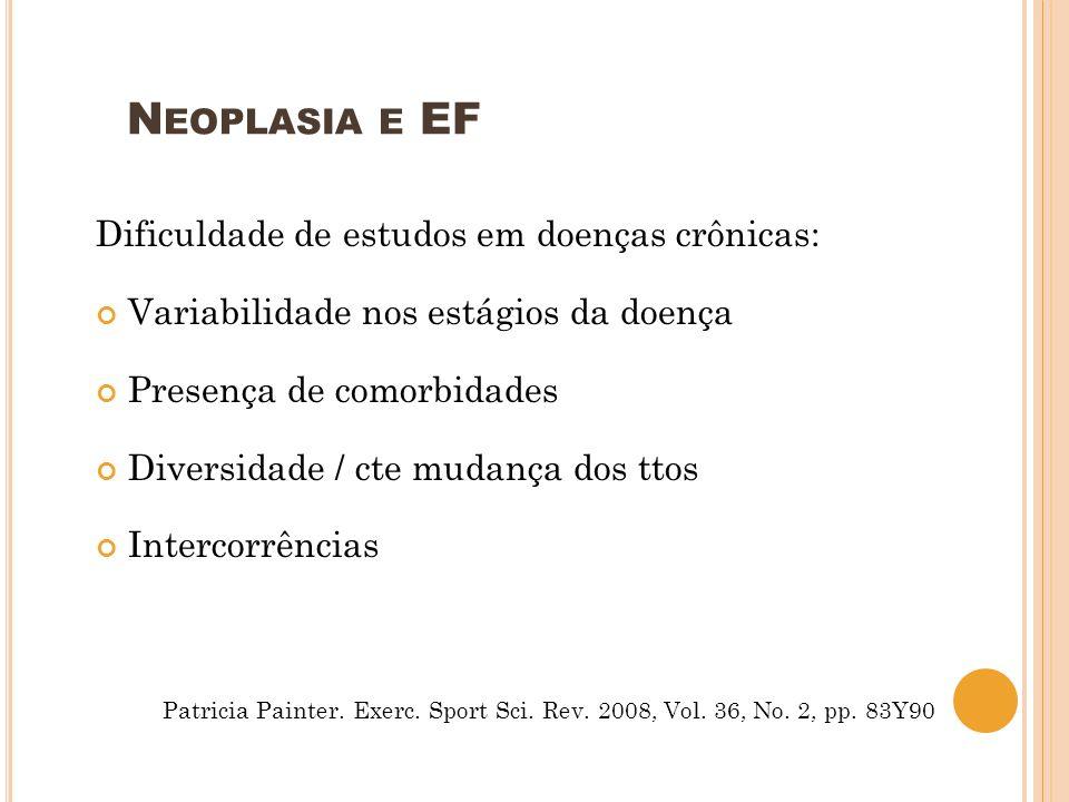 N EOPLASIA E EF Dificuldade de estudos em doenças crônicas: Variabilidade nos estágios da doença Presença de comorbidades Diversidade / cte mudança do