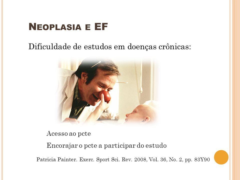 N EOPLASIA E EF Dificuldade de estudos em doenças crônicas: Acesso ao pcte Encorajar o pcte a participar do estudo Patricia Painter. Exerc. Sport Sci.