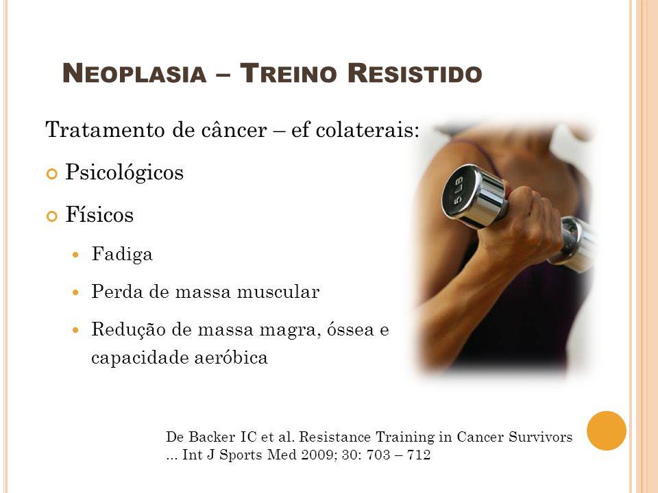 Tratamento de câncer – ef colaterais: Psicológicos Físicos Fadiga Perda de massa muscular Redução de massa magra, óssea e capacidade aeróbica De Backe