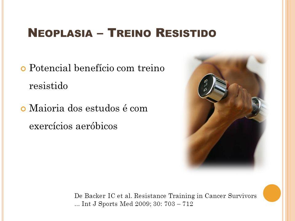 Potencial benefício com treino resistido Maioria dos estudos é com exercícios aeróbicos De Backer IC et al. Resistance Training in Cancer Survivors...