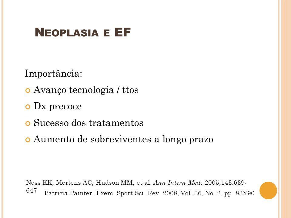 N EOPLASIA E EF Importância: Avanço tecnologia / ttos Dx precoce Sucesso dos tratamentos Aumento de sobreviventes a longo prazo Ness KK; Mertens AC; H
