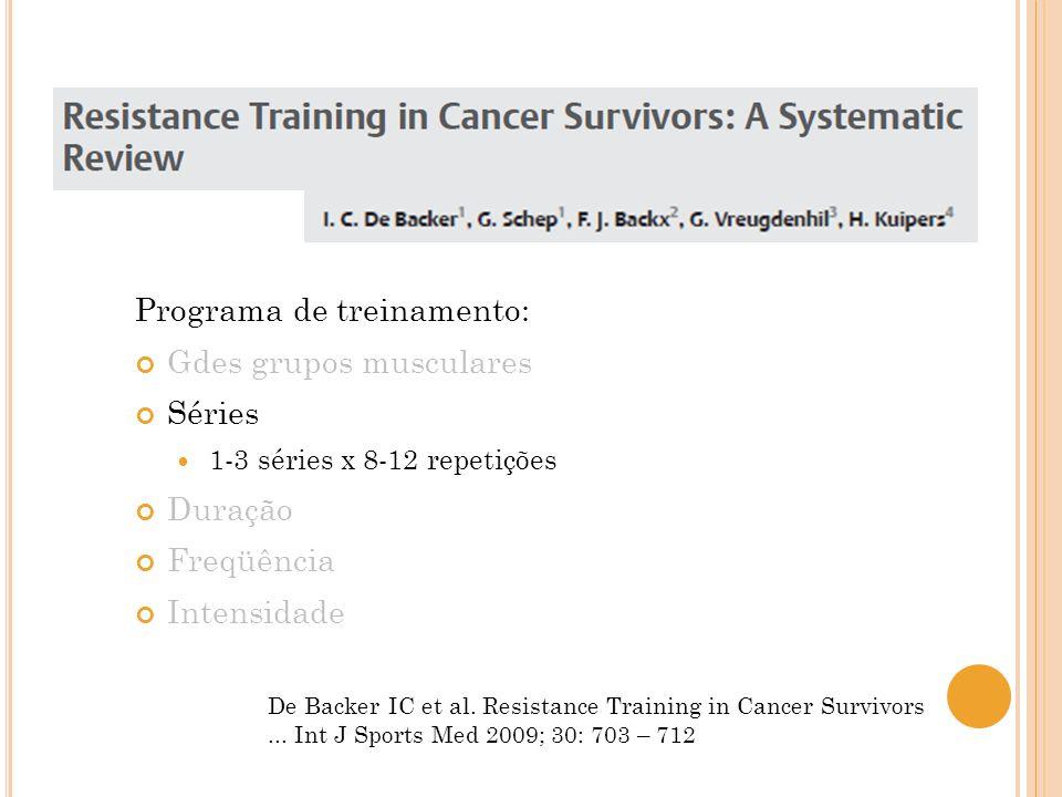 De Backer IC et al. Resistance Training in Cancer Survivors... Int J Sports Med 2009; 30: 703 – 712 Programa de treinamento: Gdes grupos musculares Sé