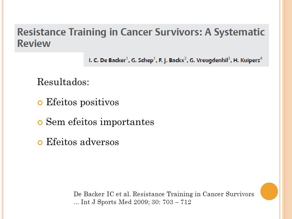 De Backer IC et al. Resistance Training in Cancer Survivors... Int J Sports Med 2009; 30: 703 – 712 Resultados: Efeitos positivos Sem efeitos importan