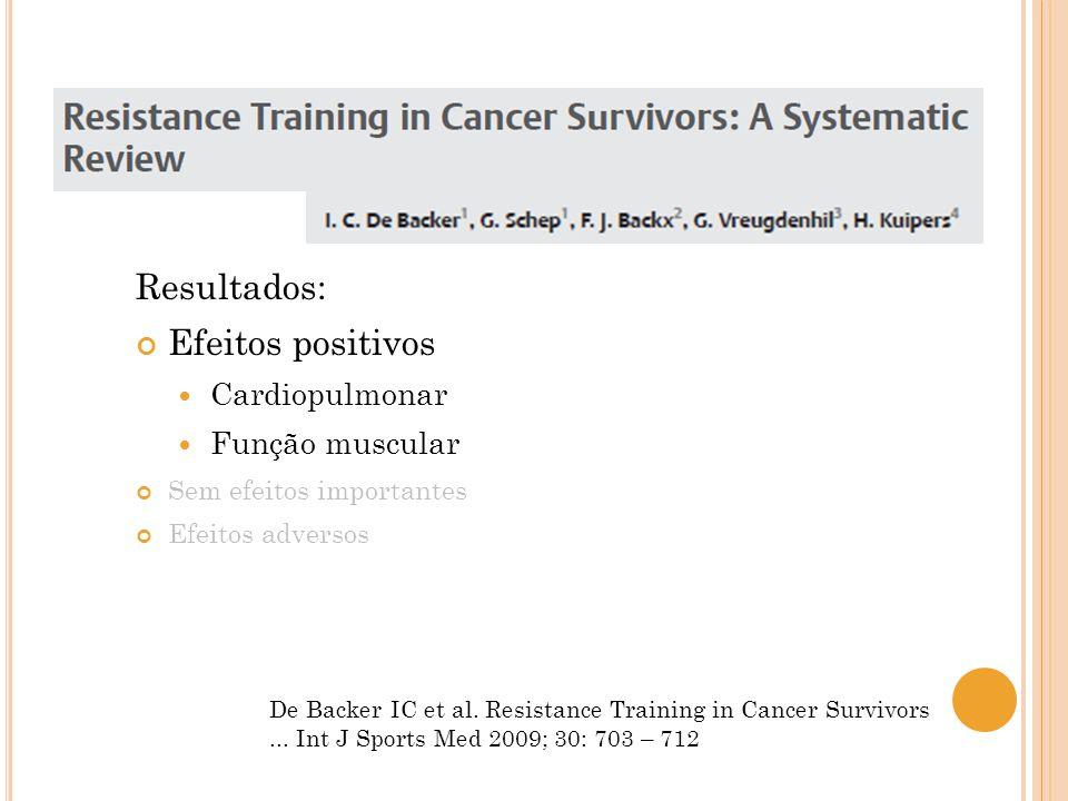 De Backer IC et al. Resistance Training in Cancer Survivors... Int J Sports Med 2009; 30: 703 – 712 Resultados: Efeitos positivos Cardiopulmonar Funçã
