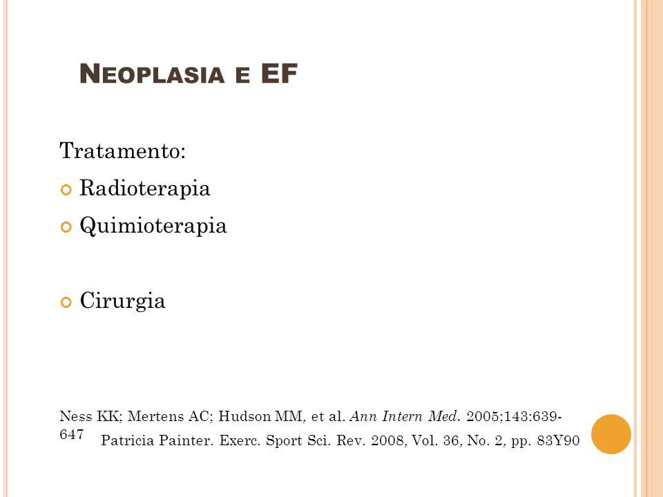 N EOPLASIA E EF Tratamento: Radioterapia citotoxicidade Quimioterapia Cirurgia Ness KK; Mertens AC; Hudson MM, et al.