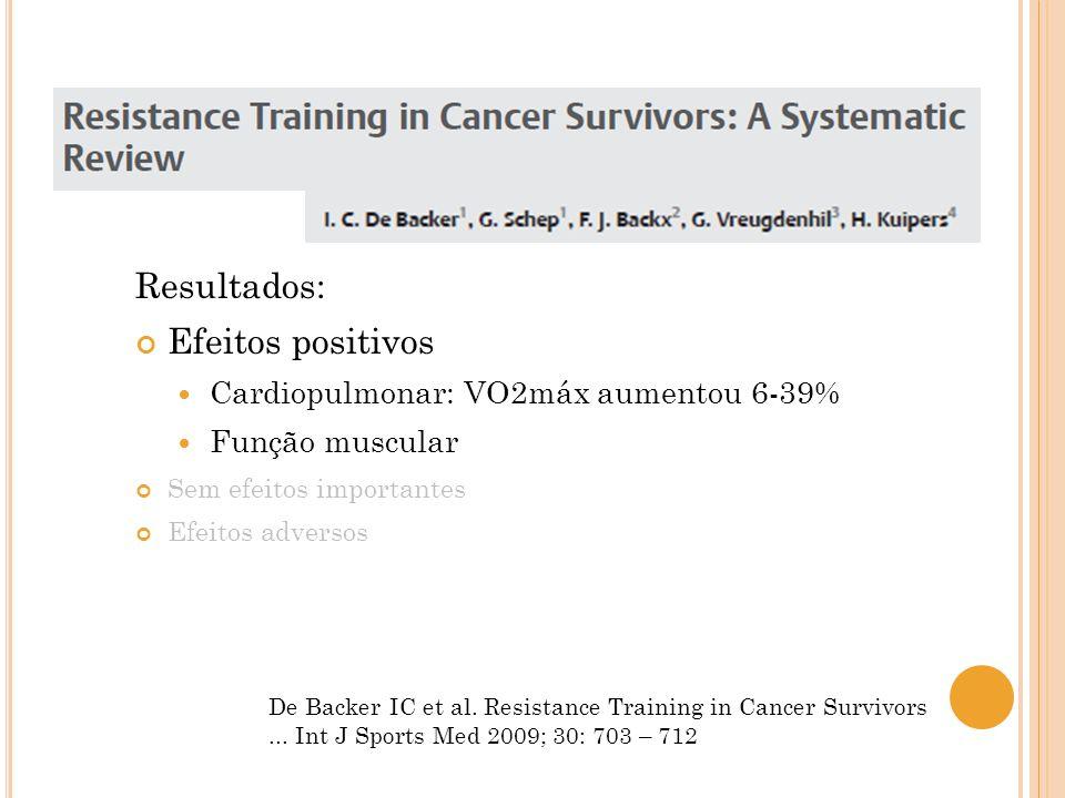 De Backer IC et al. Resistance Training in Cancer Survivors... Int J Sports Med 2009; 30: 703 – 712 Resultados: Efeitos positivos Cardiopulmonar: VO2m