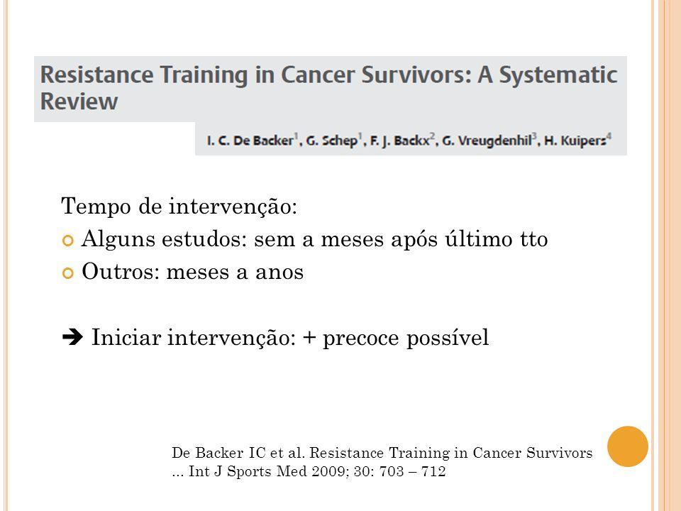 De Backer IC et al. Resistance Training in Cancer Survivors... Int J Sports Med 2009; 30: 703 – 712 Tempo de intervenção: Alguns estudos: sem a meses