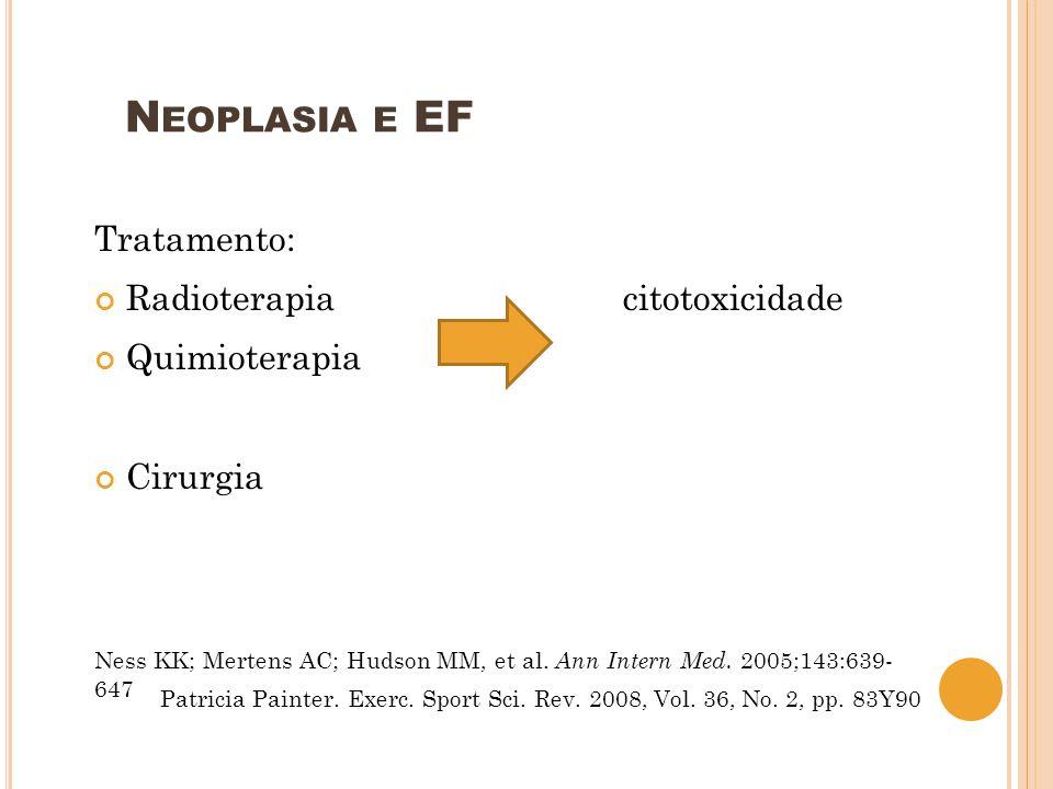 N EOPLASIA E EF Tratamento: Radioterapia citotoxicidade Quimioterapia Cirurgia Ness KK; Mertens AC; Hudson MM, et al. Ann Intern Med. 2005;143:639- 64