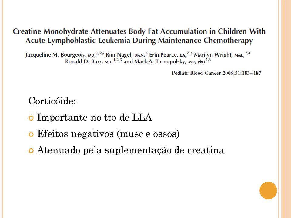 Corticóide: Importante no tto de LLA Efeitos negativos (musc e ossos) Atenuado pela suplementação de creatina