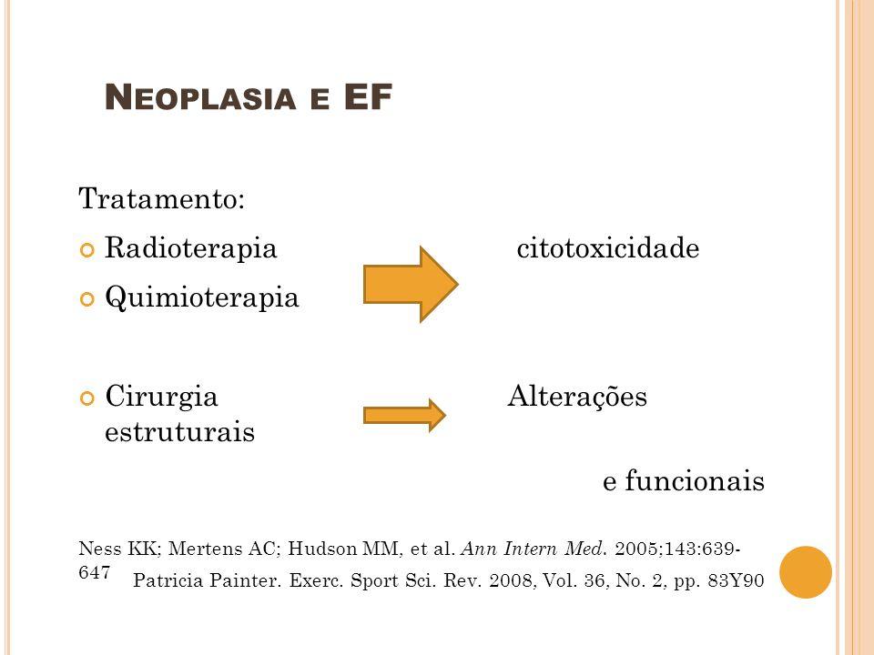N EOPLASIA E EF Tratamento: Radioterapia citotoxicidade Quimioterapia Cirurgia Alterações estruturais e funcionais Ness KK; Mertens AC; Hudson MM, et