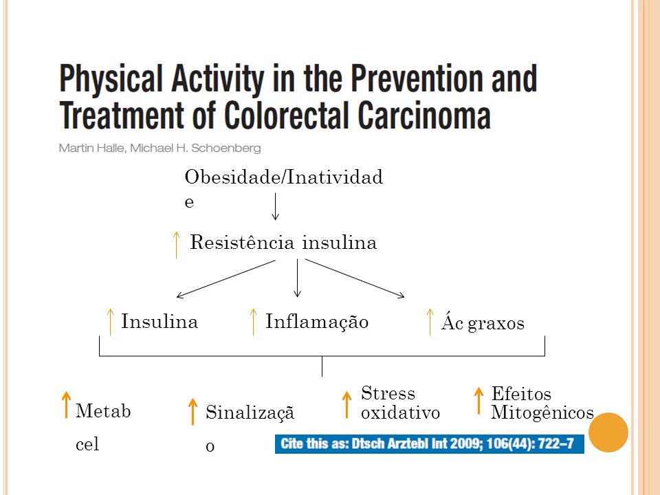 Resistência insulina Obesidade/Inatividad e InsulinaInflamação Ác graxos Metab cel Sinalizaçã o Stress oxidativo Efeitos Mitogênicos
