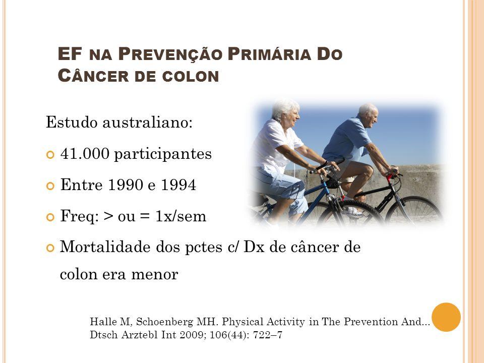 Estudo australiano: 41.000 participantes Entre 1990 e 1994 Freq: > ou = 1x/sem Mortalidade dos pctes c/ Dx de câncer de colon era menor EF NA P REVENÇ