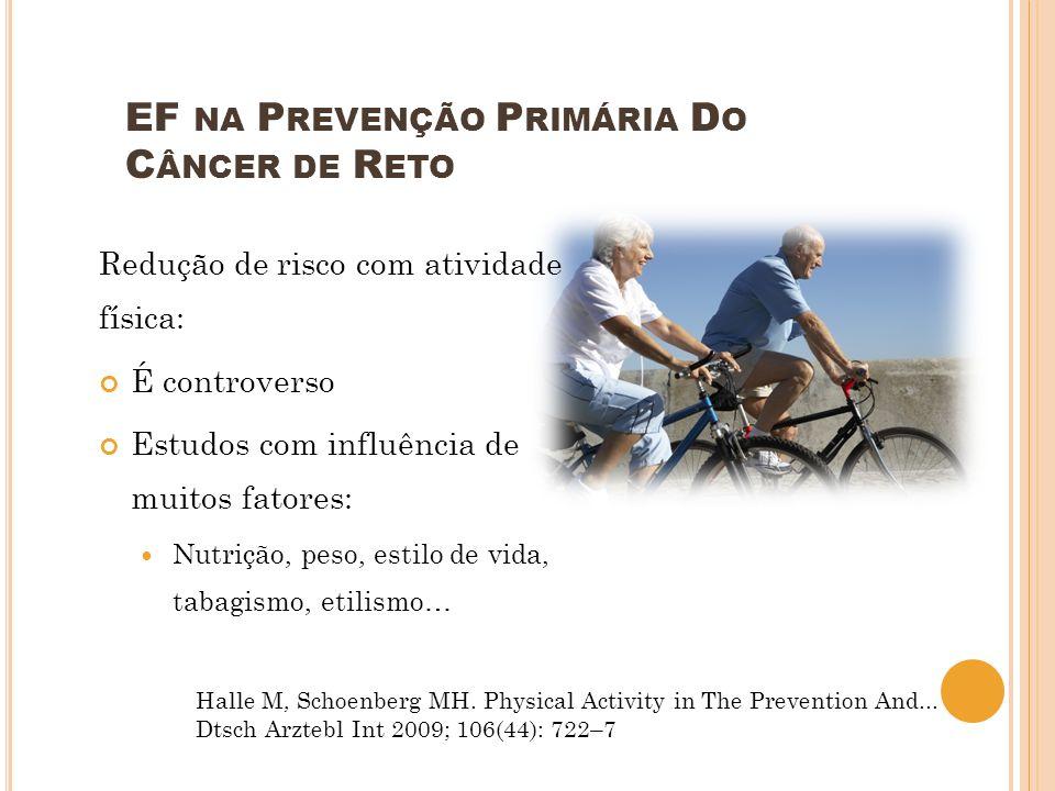 Redução de risco com atividade física: É controverso Estudos com influência de muitos fatores: Nutrição, peso, estilo de vida, tabagismo, etilismo… EF