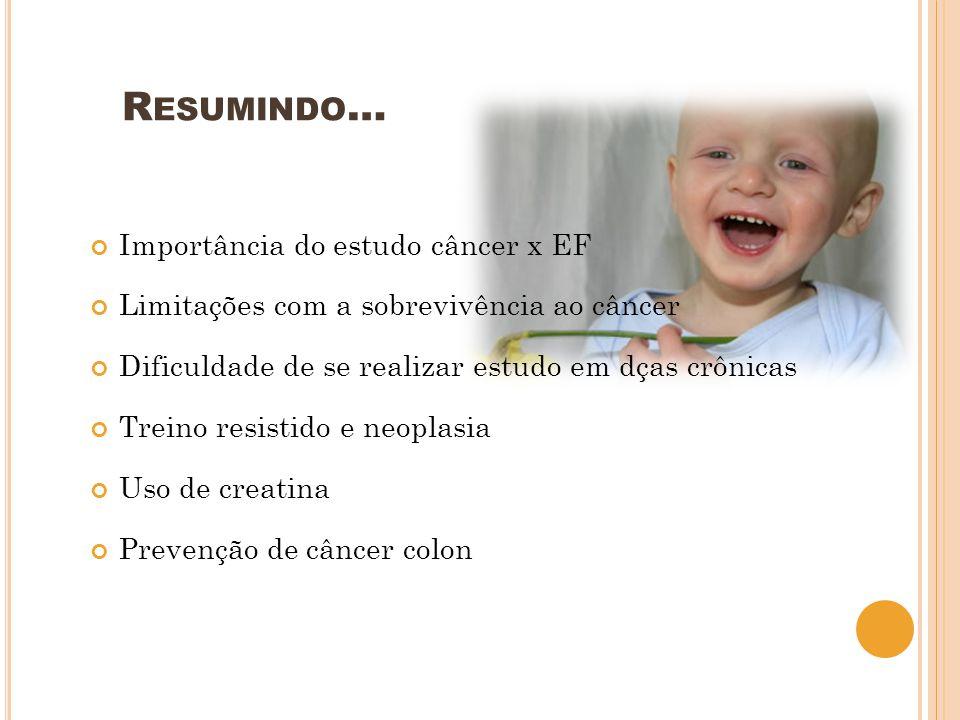 Importância do estudo câncer x EF Limitações com a sobrevivência ao câncer Dificuldade de se realizar estudo em dças crônicas Treino resistido e neopl