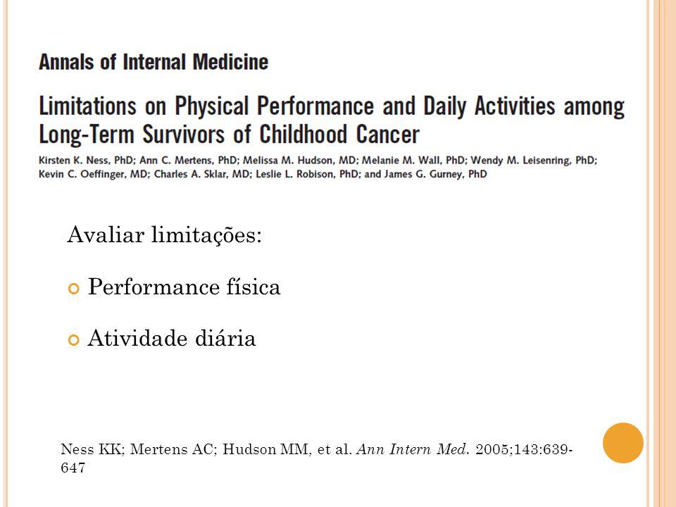 Avaliar limitações: Performance física Realizar atividade vigorosa, mover uma mesa, subir escadas, ladeira, caminhada, correr… Atividade diária Ness KK; Mertens AC; Hudson MM, et al.
