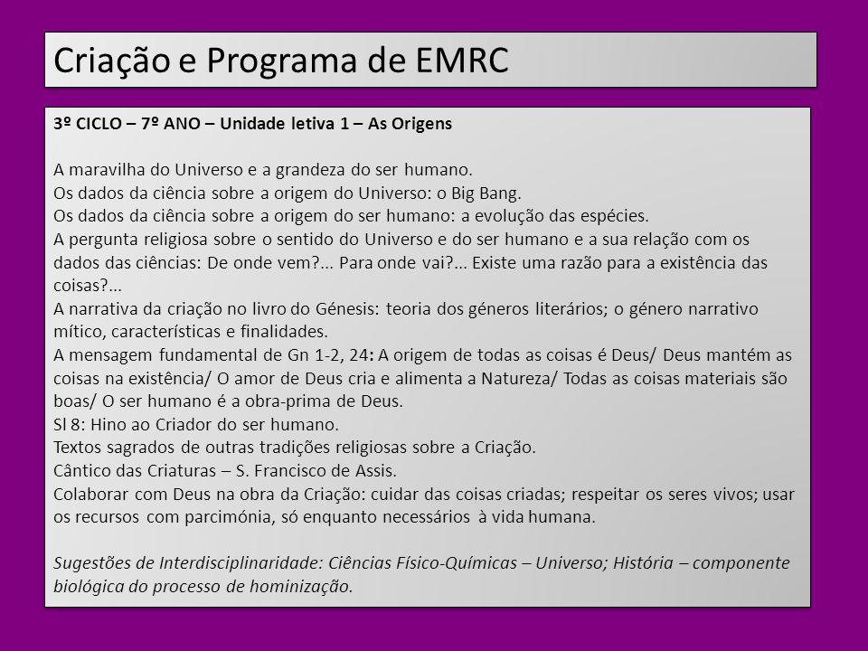 Criação e Programa de EMRC 3º CICLO – 7º ANO – Unidade letiva 1 – As Origens A maravilha do Universo e a grandeza do ser humano.