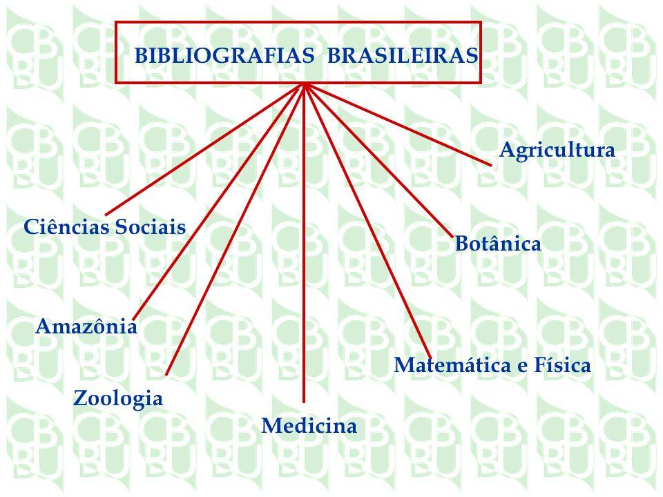 Ciências Sociais Amazônia Zoologia Agricultura Botânica Matemática e Física Medicina BIBLIOGRAFIAS BRASILEIRAS