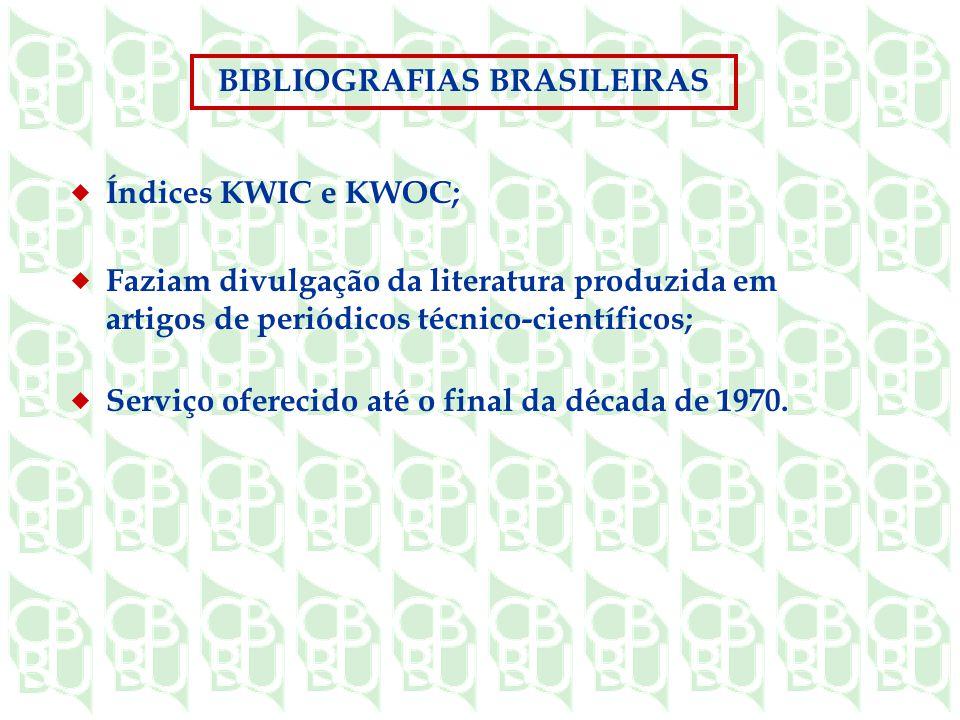 Índices KWIC e KWOC; Faziam divulgação da literatura produzida em artigos de periódicos técnico-científicos; Serviço oferecido até o final da década de 1970.