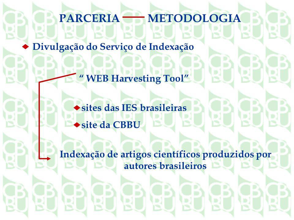 WEB Harvesting Tool Indexação de artigos científicos produzidos por autores brasileiros sites das IES brasileiras site da CBBU Divulgação do Serviço de Indexação PARCERIAMETODOLOGIA