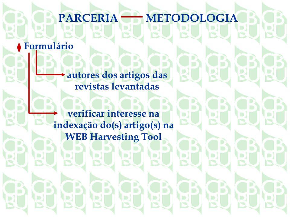 autores dos artigos das revistas levantadas verificar interesse na indexação do(s) artigo(s) na WEB Harvesting Tool Formulário PARCERIAMETODOLOGIA