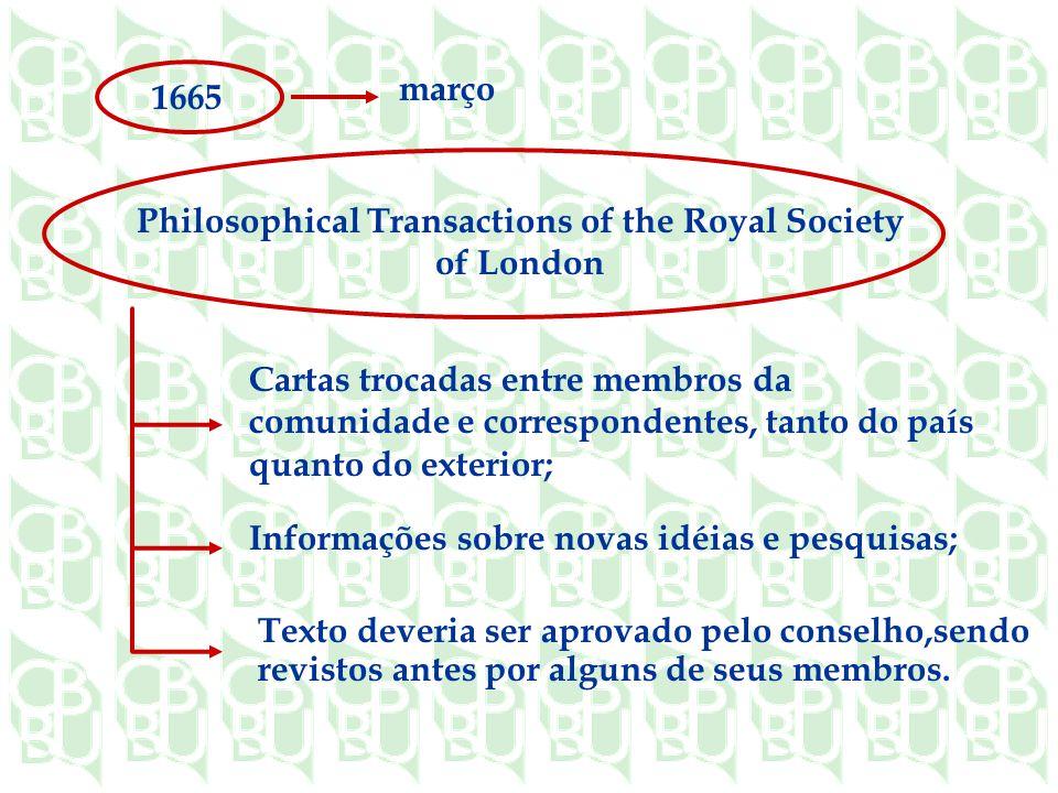 1665 março Philosophical Transactions of the Royal Society of London Cartas trocadas entre membros da comunidade e correspondentes, tanto do país quanto do exterior; Informações sobre novas idéias e pesquisas; Texto deveria ser aprovado pelo conselho,sendo revistos antes por alguns de seus membros.