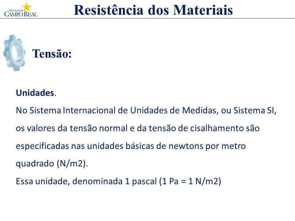Tensão: Resistência dos Materiais Unidades. No Sistema Internacional de Unidades de Medidas, ou Sistema SI, os valores da tensão normal e da tensão de