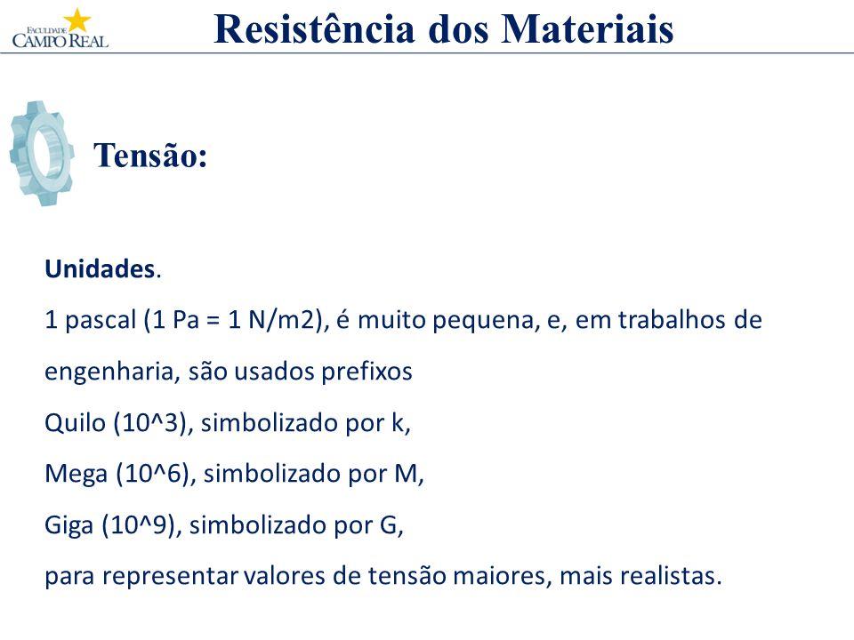 Tensão: Resistência dos Materiais Unidades. 1 pascal (1 Pa = 1 N/m2), é muito pequena, e, em trabalhos de engenharia, são usados prefixos Quilo (10^3)