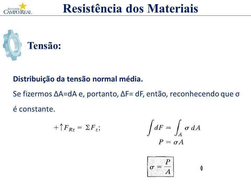 Tensão: Resistência dos Materiais Distribuição da tensão normal média. Se fizermos A=dA e, portanto, F= dF, então, reconhecendo que σ é constante.