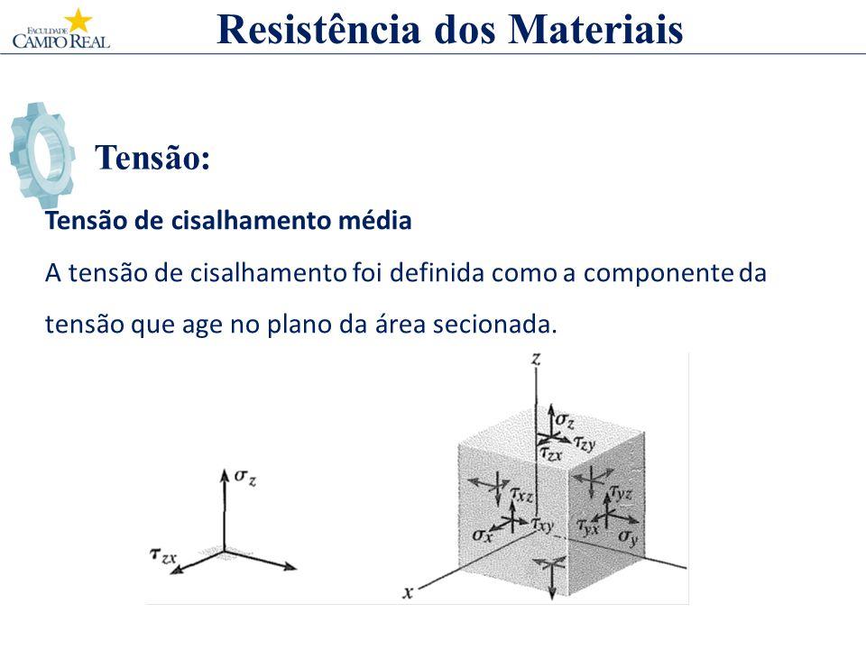 Tensão: Resistência dos Materiais Tensão de cisalhamento média A tensão de cisalhamento foi definida como a componente da tensão que age no plano da á