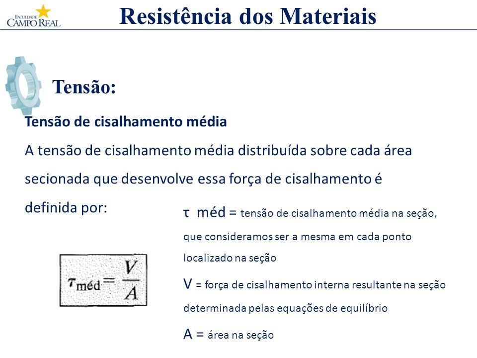 Tensão: Resistência dos Materiais Tensão de cisalhamento média A tensão de cisalhamento média distribuída sobre cada área secionada que desenvolve ess
