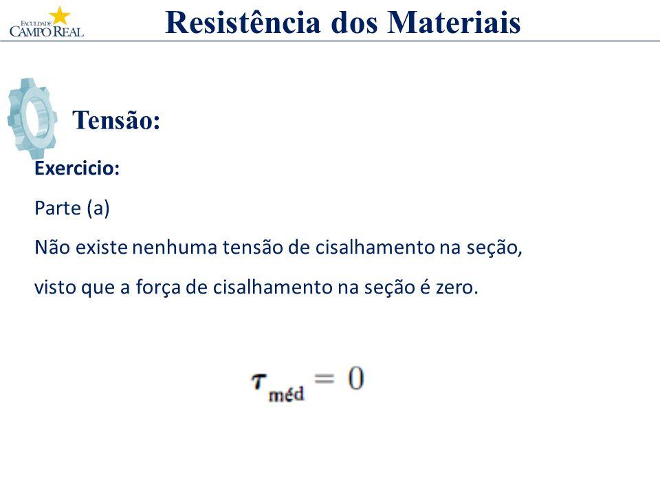 Tensão: Resistência dos Materiais Exercicio: Parte (a) Não existe nenhuma tensão de cisalhamento na seção, visto que a força de cisalhamento na seção
