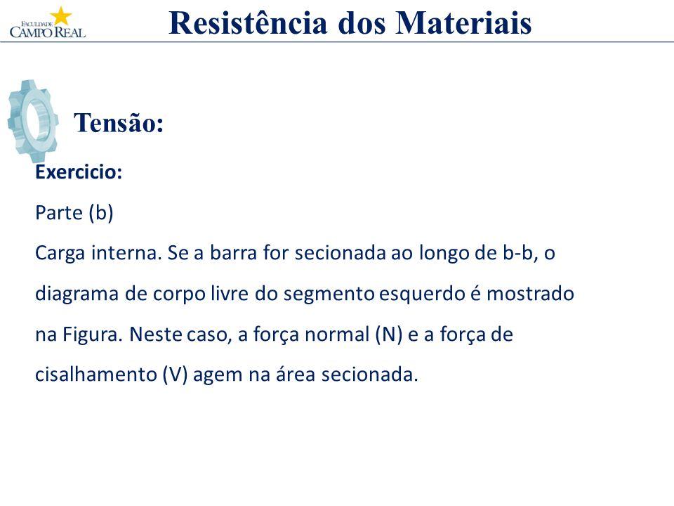 Tensão: Resistência dos Materiais Exercicio: Parte (b) Carga interna. Se a barra for secionada ao longo de b-b, o diagrama de corpo livre do segmento